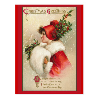 Pretty Woman in Scarlet Victorian Holiday Cards Postcard