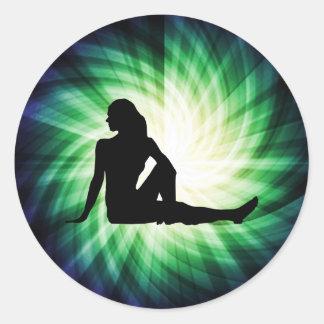 Pretty Woman Silhouette Round Sticker