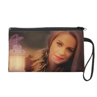 Pretty woman with a lantern wristlet