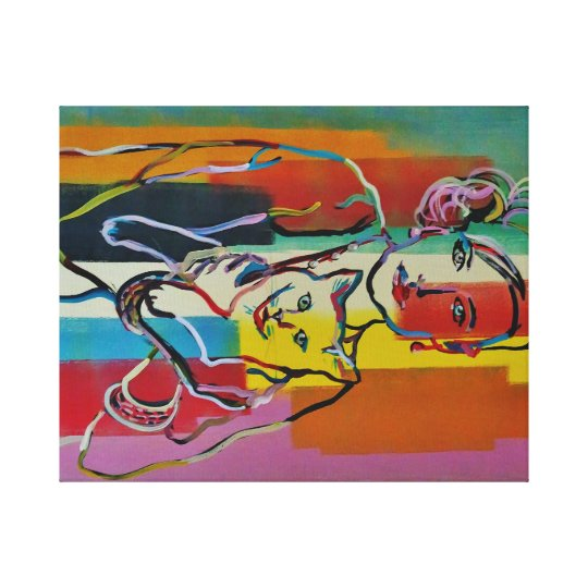 Pretty Woman with Cat Fine Art Colourful Abstract2