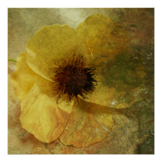 Pretty Yellow Ditressed Flower Poster