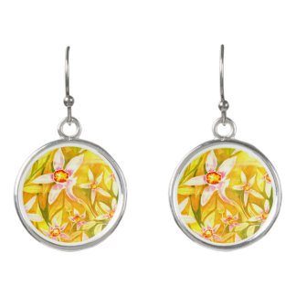 Pretty Yellow Floral Watercolour Earrings