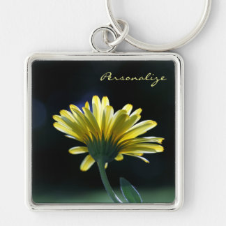 Pretty Yellow Gerber Daisy Flower With Name Key Ring