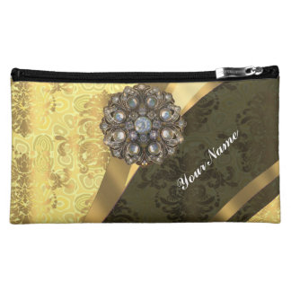 Pretty yellow girly chic vintage damask pattern makeup bag