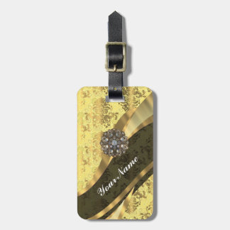 Pretty yellow girly chic vintage damask pattern luggage tag