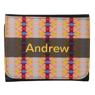 pretty yellow red ribbons pattern leather tri-fold wallet