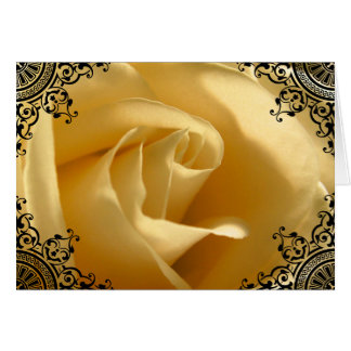 Pretty Yellow Rose Custom Thank You Card
