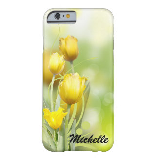 Pretty Yellow Tulips Personalized iPhone Case