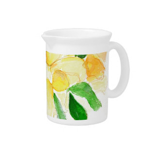 Pretty Yellow Watercolor Dreaming Spires Roses Pitcher