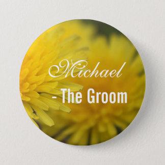 Pretty yellow wild flower dandelion wedding groom 7.5 cm round badge
