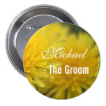 Pretty yellow wild flower dandelion wedding groom pins