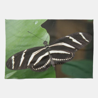 Pretty Zebra Longwing Butterfly Kitchen Towel
