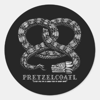 Pretzelcoatl -b/w classic round sticker