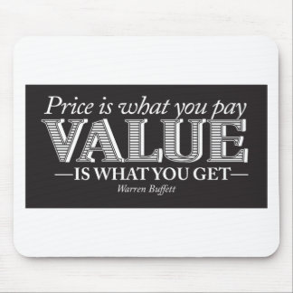 Price is what you page - white on black mouse mat