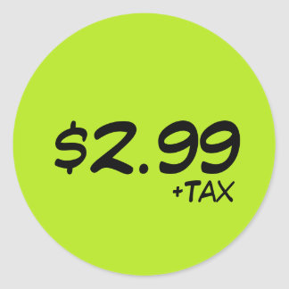 Price Label With Tax Round Sticker