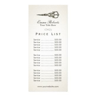 Price List | Antique Scissor Vintage Hair Salon Rack Card