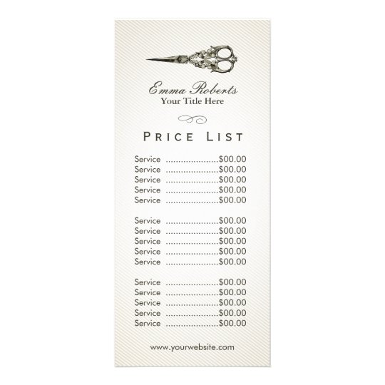 Price List  Antique Scissor Vintage Hair Salon Rack Card  ZazzleCoUk