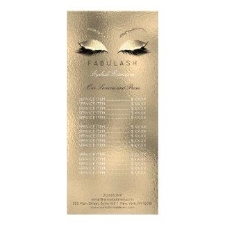 Price List Beauty Salon Lashes Gold Makeup Glitter Rack Card