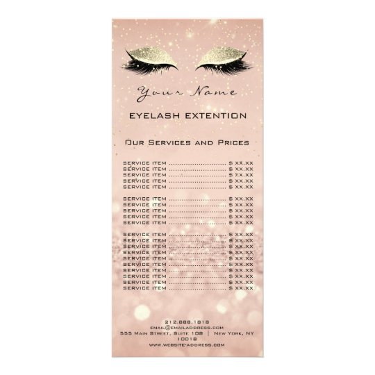 Price List Lashes Extension Makeup Blush Gold Rack Card