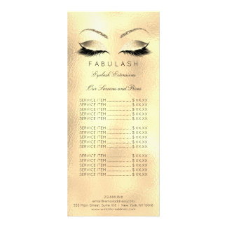 Price List Lashes Extention Gold Makeup Glitter Rack Card