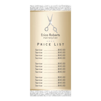 Price List | Luxury Silver Glitter Gold Hair Salon Rack Card