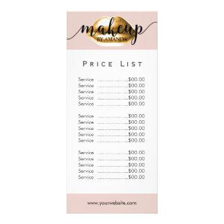 Price List   Makeup Artist Gold Lips Blush Pink Rack Card