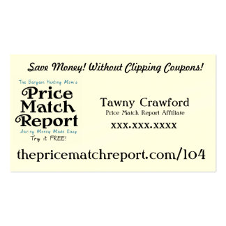 Price Match Report Affiliate Card - Link Pack Of Standard Business Cards