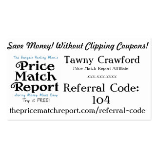 Price Match Report Affiliate Cards - Referral Code Business Cards