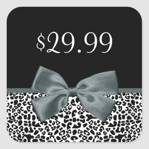 Price Tags Sophisticated Leopard Print Gray Bow Stickers