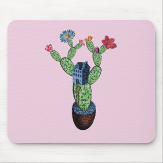 Prickly cactus with flowers mouse mat