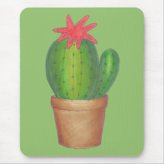 Prickly Green Cactus Garden Flower Potted Plant Mouse Mat