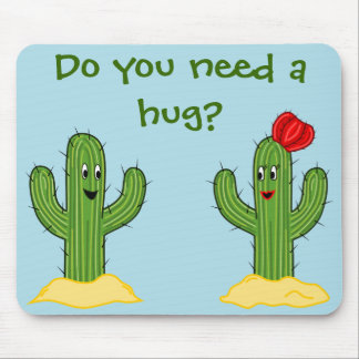 Prickly Pair Cartoon Cactus Guy & Gal Mouse Pad