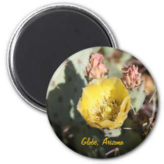 Prickly Pear Cactus,  Globe, Arizona 6 Cm Round Magnet