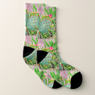 Prickly Pear with Pink Bloom Socks