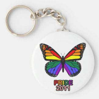 Pride 2011 butterfly basic round button key ring