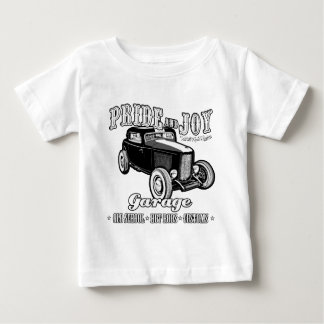 Pride and Joy Hot Rod Garage. Light background Baby T-Shirt