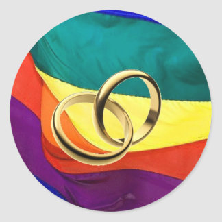 Pride and Marriage Classic Round Sticker