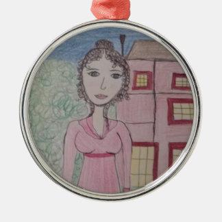 Pride and Prejudice Silver-Colored Round Decoration