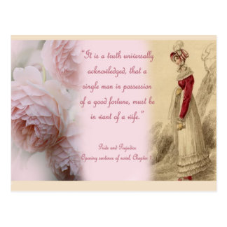 Pride and Prejudice Single Man, Jane Austen Postcard