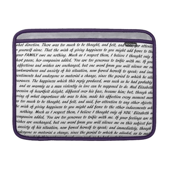 Pride and Prejudice Text Double-Sided MacBook Sleeve