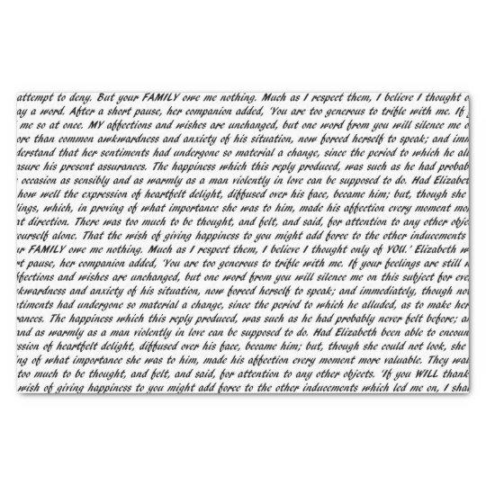 Pride and Prejudice Text Tissue Paper