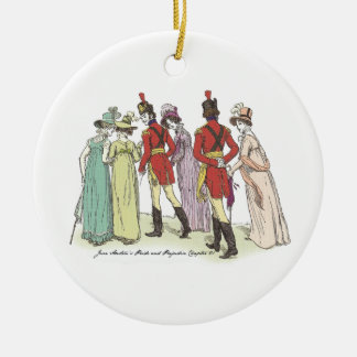 Pride and Prejudice - Walk With The Officers Round Ceramic Decoration