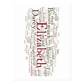 Pride and Prejudice Word Cloud Postcard