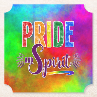 Pride and Spirit Celebration in Rainbow Theme Paper Coaster