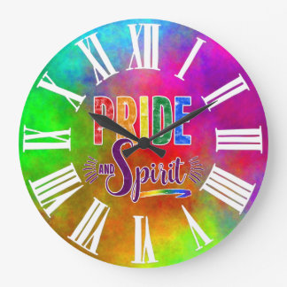 Pride and Spirit Rainbow with White Roman Numerals Large Clock