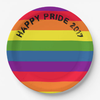 Pride Celebration GLBT Rainbow Flag Custom Text 9 Inch Paper Plate