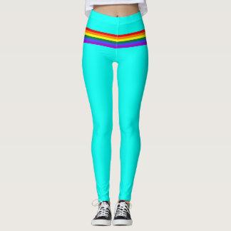 Pride flag rainbow custom Leggings bright aqua