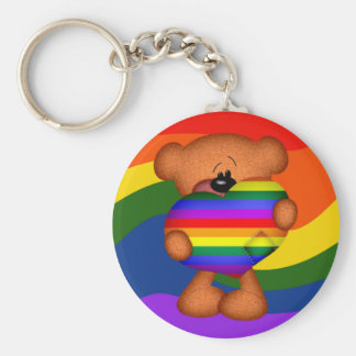 Pride Heart Teddy Bear Basic Round Button Key Ring