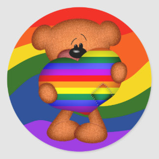 Pride Heart Teddy Bear Classic Round Sticker