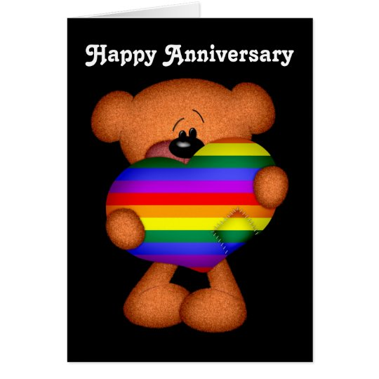 Pride Heart Teddy Bear Happy Anniversary Card